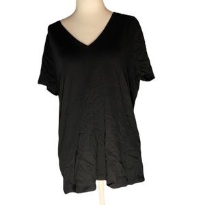 Banana Republic Black Short Sleeve V Neck Large